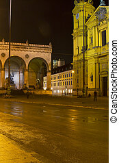 The famous Theatinerkirche church in Munich, Germany, at...