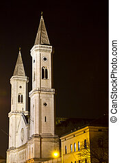 The famous Ludwigskirche church in Munich at night