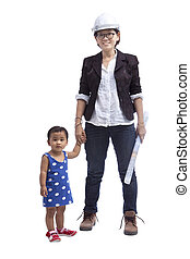 female engineer with baby standing beside isolated on white