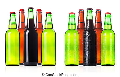 beer bottle collection isolated on a white background