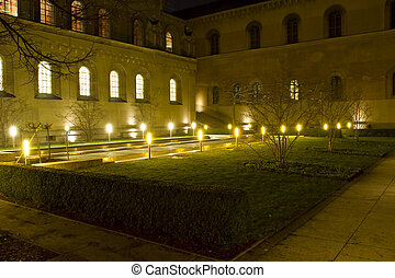 Kabinettsgarten garden in Munich, Germany, at night