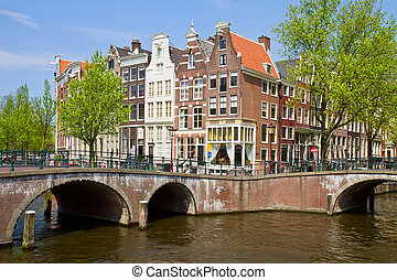 canal ring, Amsterdam - bridges and houses of canal ring,...
