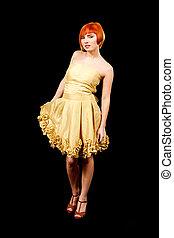 Redhead in yellow dress