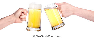 Pair of beer glasses with hand making a toast isolated on a...