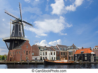 Adriaan windmill, Haarlem - Adriaan windmill in old town of...