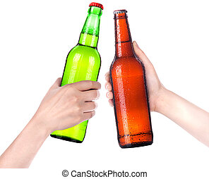 Hands Clinking Glasses Beer isolated on a white