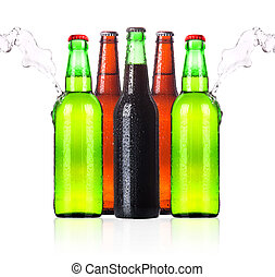 frosty Beer bottles with water splash isolated