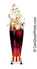 fresco, coca-cola, respingo, vidro, isolado, branca