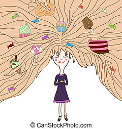 Cute little girl with candies in her hair - Cute little...