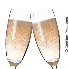 two glasses of champagne flutes on a white