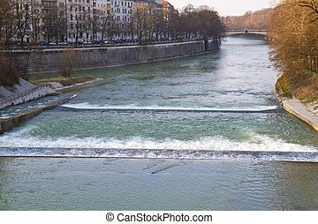 The river Isar in Munich, Germany, downtown - The river Isar...