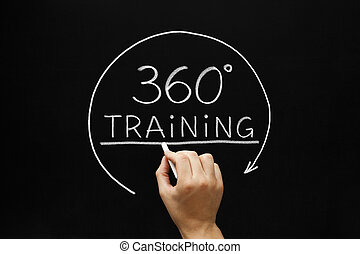 360 Degrees Training Concept - Hand sketching 360 degrees...