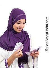 beau, billets banque, femme, euros, arabe, cinq, lot, cent,...