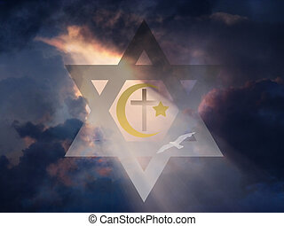 Peace - Star of David, Muslim Cresent and Cross