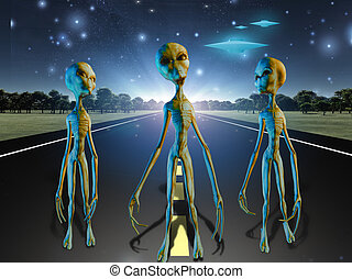 Aliens on country road