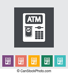 ATM flat icon - ATM Single flat icon Vector illustration