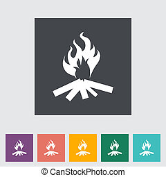 Bonfire. Single flat icon. Vector illustration.