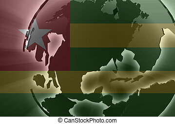 Flag of Togo, national country symbol illustration