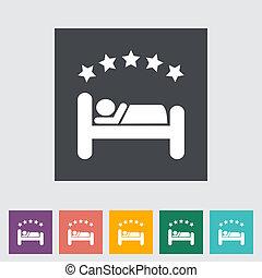 hôtel, unique, plat, icône