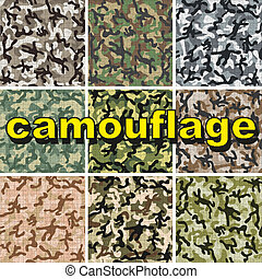 Set of camouflage pattern - 9 Set of camouflage pattern in...