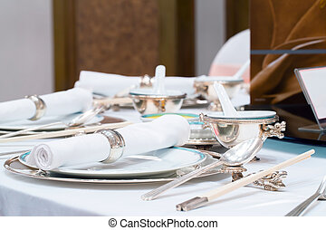 dining table set in restaurant