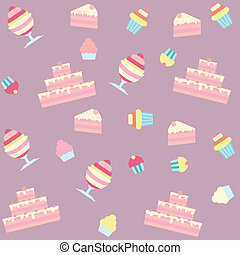 background with cakes and desserts - seamless background...