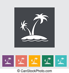 Palm tree Single flat icon Vector illustration