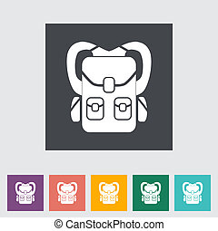 Rucksack. Single flat icon. Vector illustration.