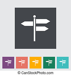 Signpost. Single flat icon. Vector illustration.