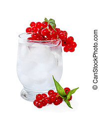 Soda with ice and red currants on a white background