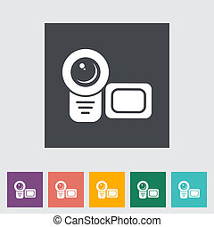 Video camera single flat icon Vector illustration