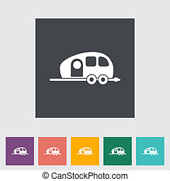 Trailer Single flat icon Vector illustration