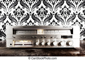 radio receiver agaisnt retro wallpaper