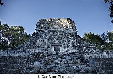 mayan ruins at xpujil, mexico