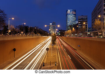 bcn traffic - rush of night time traffic on roadin...