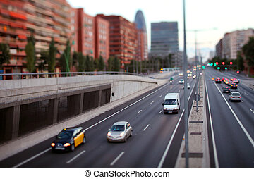 barcelona street scene - tilt and shift abstract shot of...