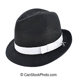 Fedora like hat isolated - Fedora like black hat with a...