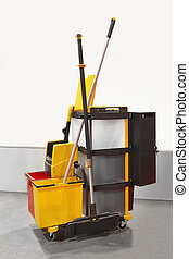 Janitorial cart - Heavy duty plastic janitorial cart with...
