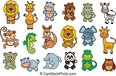 set vector funny cartoon animals