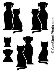 isolated dog and cat silhouette - black isolated dog and cat...