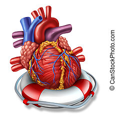 Heart Rescue - Heart rescue medical health care concept with...