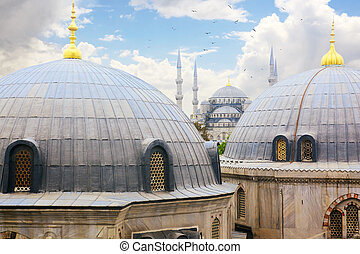 Sultanahmet - Blue Mosque as seen from Haghia Sophia,...