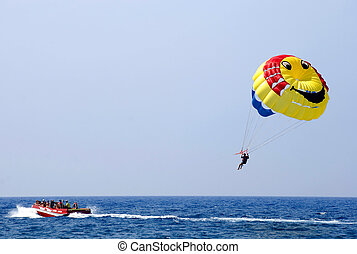 Parasailing over the Mediterranean Sea