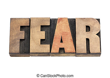 fear word in wood type - fear word isolated text in vintage...