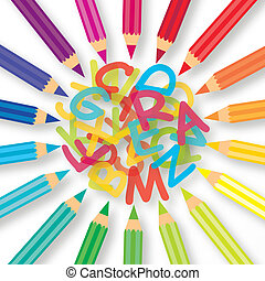 Colored Pencils - Colored pencils with colorful letter