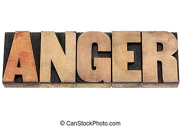 anger word in wood type - anger word - isolated text in...