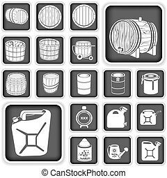 barrel and canister buttons set - Illustration of a barrel...