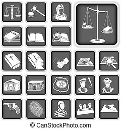 law and justice button set