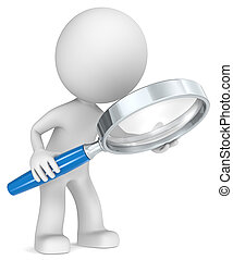 Search. - The Dude holding magnifying glass. Side view....