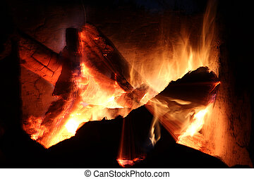 log fire - a campfire burning logs